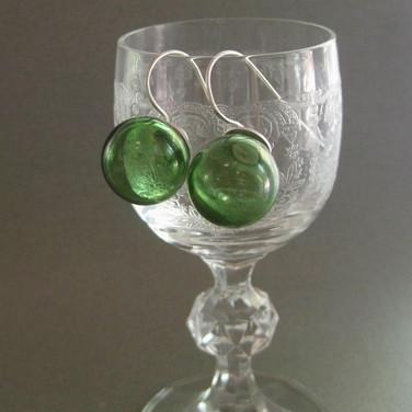Moss Green blown hollow earrings-$22