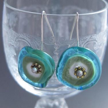 Aqua and Green flameworked glass flower earrings - $22