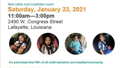 Child passenger safety seat check-up event in Lafayette to take place on January 23rd