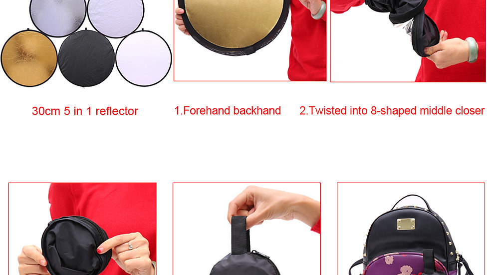 Small - 11.8'' 5 in 1 Profession Portable Collapsible  Photography Reflector