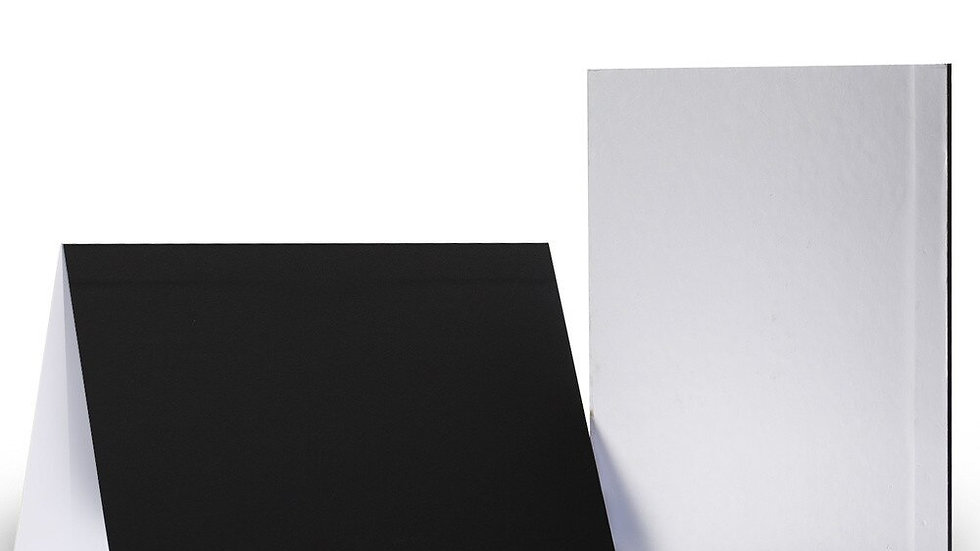 41*28.5cm Collapsible Cardboard White, Black, & Silver Reflector