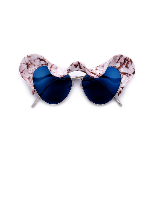 Bold Statement Architectural Ruffle Design Runway Sunglasses