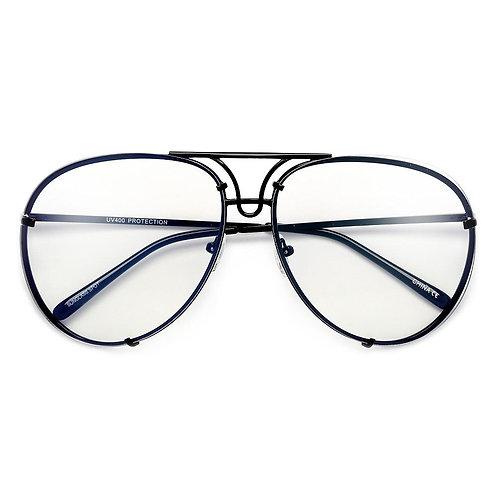 Oversize High Fashion Clear Aviator - Black