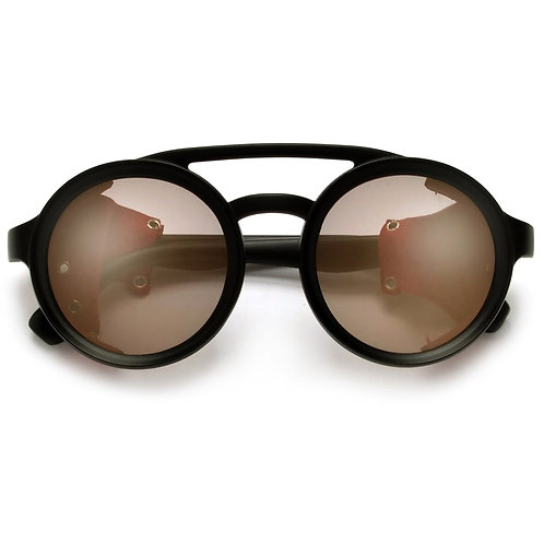 GLAMspunk Vintage Leather Side Cup Round Sunglasses
