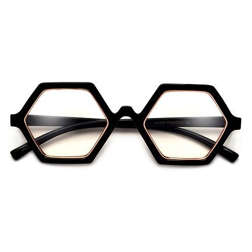Bold Hexagonal Clear Eyewear