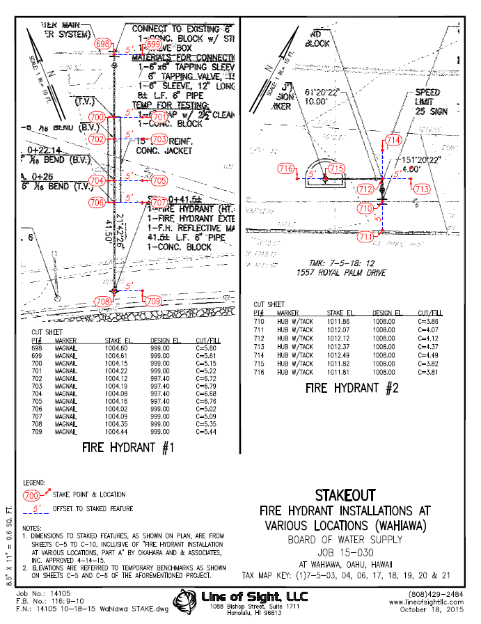 Utility Construction Cut Sheet