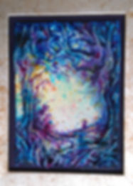 Magic in the purple dell textile picture by Gilli Slater. 7x5 painted on silk