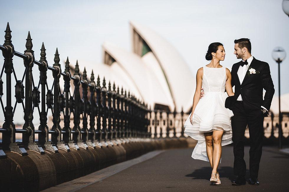 Sydney Opera House Wedding - Bride and Groom Walking arm in arm