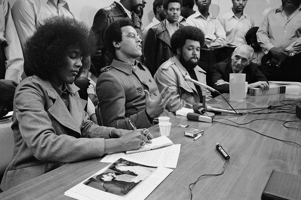 Black Panther leader Huey P. Newton hold a press conference.