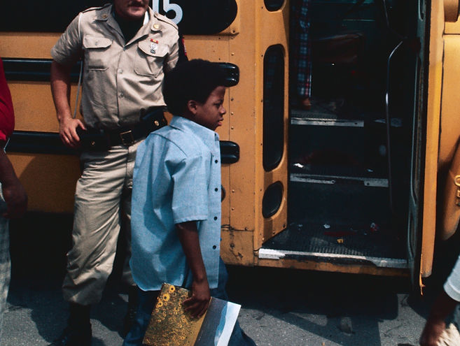 Police Racially Integrating School Buses