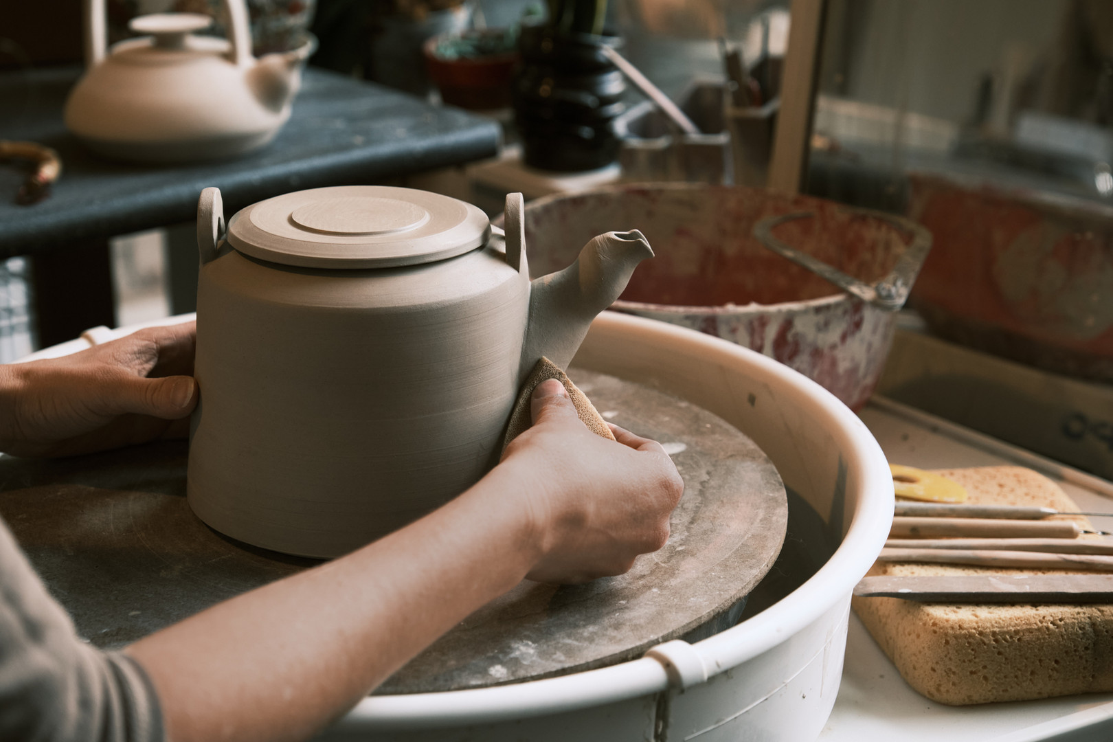 Teapots, wheel throwing!
