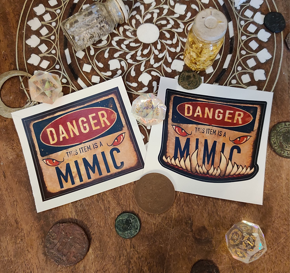 Pair of Graphic Mimic Warning Stickers