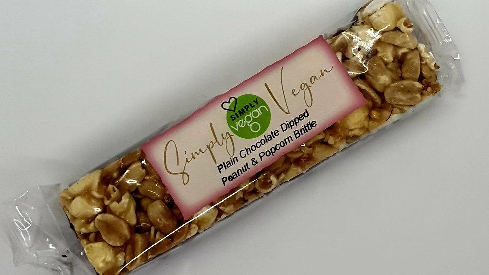 Simply Vegan - Plain Chocolate Dipped Peanut & Popcorn Bar (85g)