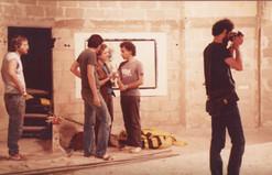 פירוק התערוכה, משמאל לימין: אורן צ'צ'יק, בילו בליך, יורם קופרמינץ, אריה ברקוביץ