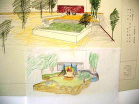 יואב מאירי, הנס פלדה, רישומי הכנה לפינת ישיבה ומשחקים בחצר אל חלאייל שעוצבה בשיתוף התושבים