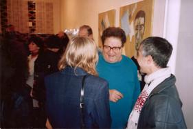 בלוק, ציון אלגרבלי, רפי לביא ודניאל ללונג-אלגרבלי בפתיחת התערוכה, ינואר 1997