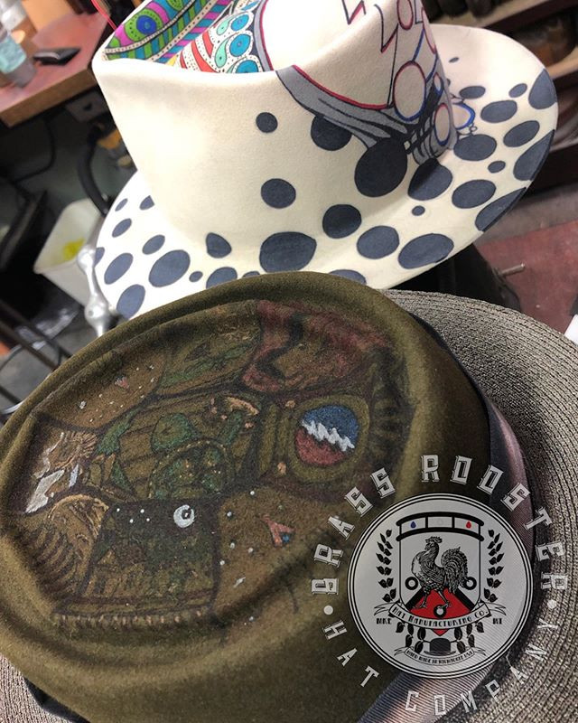 A couple custom art hats exclusively fro