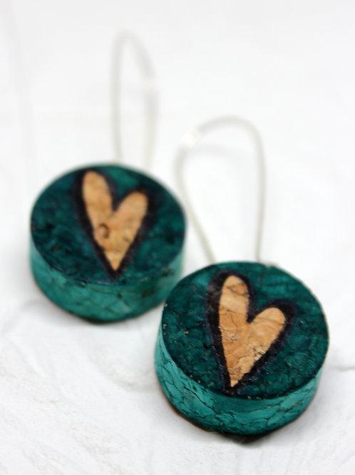 Floating River Heart Wine Cork Earrings