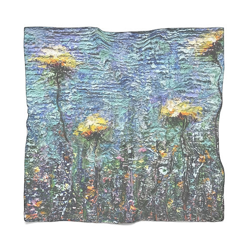 Chiffon Scarf: Wildflowers in Blue