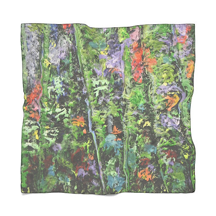 Chiffon Scarf: Green Leaves and Flowers