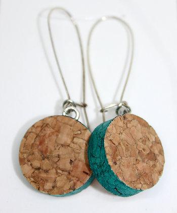Aqua Blue Band Wine Cork Earrings