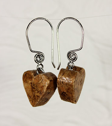 Natural Heart Wine Cork Earrings