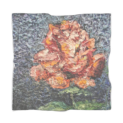 """Chiffon Scarf: Pink Single Rose (25"""" x 25"""")"""