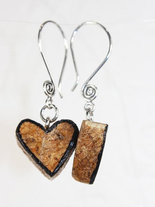 Black Heart Outline Wine Cork Earrings