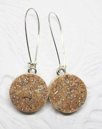 Silver & Gold Sparkle Wine Cork earrings