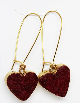 Gold Leafed Edge Red Heart Wine Cork Earrings