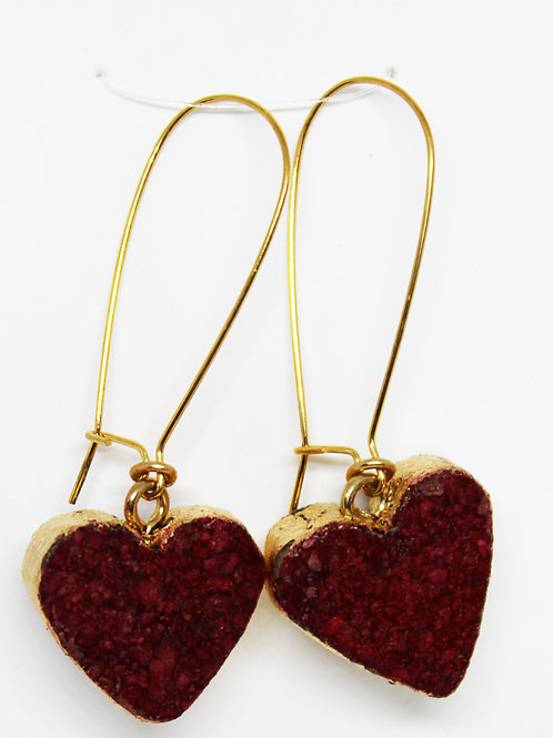 Gold Leafed Edge Red Heart Wine Cork Earrings