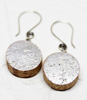 Snow Glisten Wine Cork Earrings