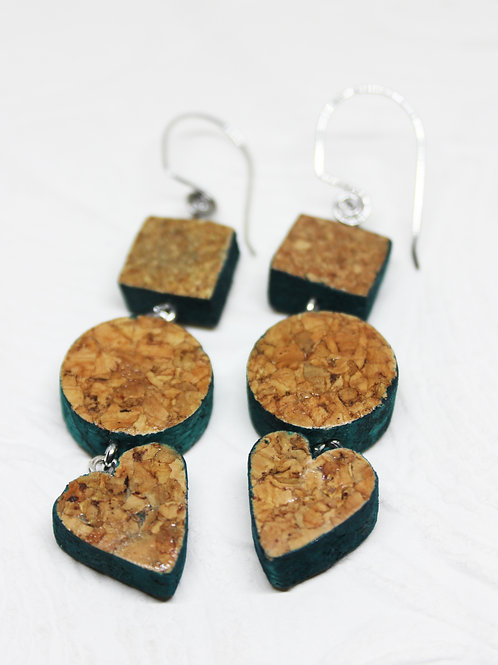 Aqua Edge Trio Wine Cork Earrings