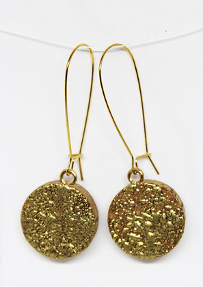 Gold Embossed Natural Cork Earrings