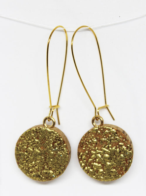 Gold Embossed Natural Cork Earrings