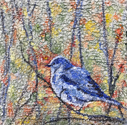Blue Bird on Rain Paper