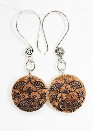 Mandala Lotus Design Wine Cork Earrings