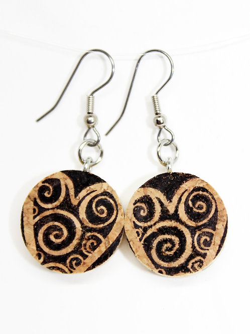 Spiral Heart on Natural Cork Earrings