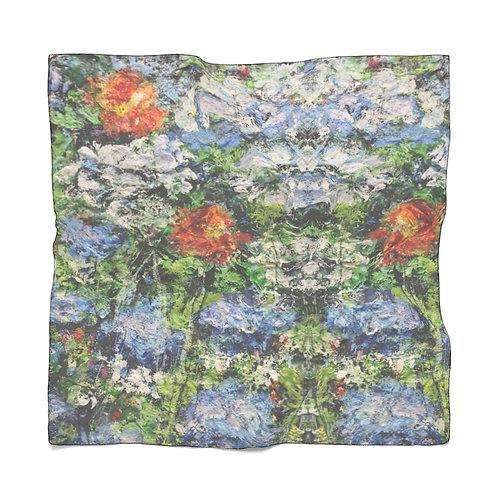 Chiffon Scarf: Blue and Orange Flowers