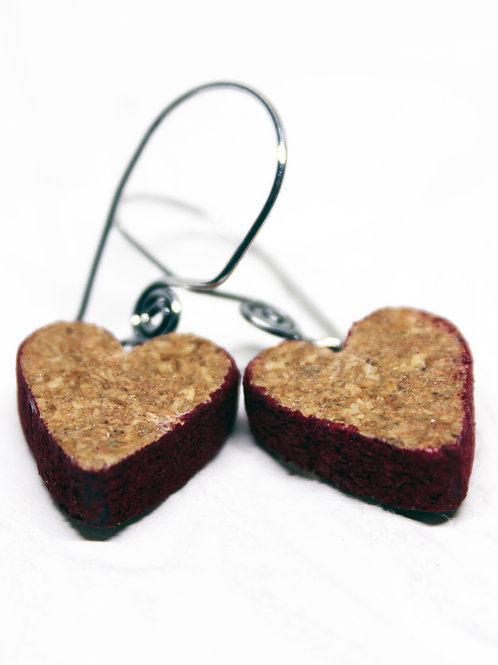Red Edge Heart Wine Cork Earrings