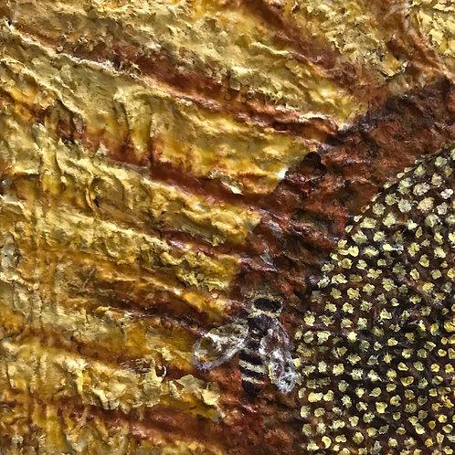 "Bee Still Sunflower, 4"" x 4"""