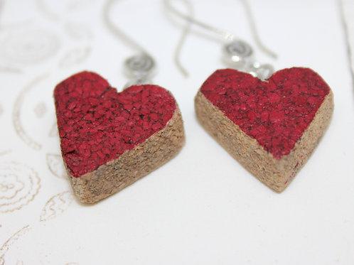 Red Heart Wine Cork Earrings