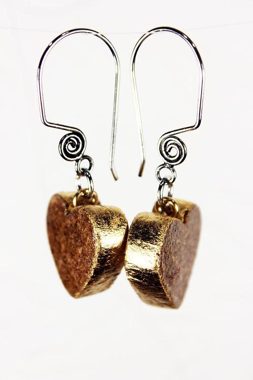 Gold Leafed Heart Shaped Wine Cork Earrings