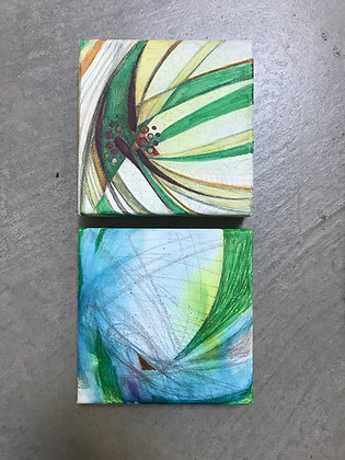 """Start of Spring & Abstract Aquatic (6"""" x 6"""" each)"""