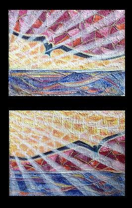 "Sunset & Sunrise Water Birds - diptych (24""x 36"" each)"