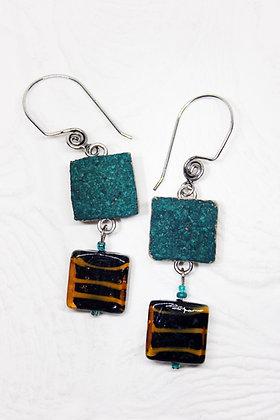 Aqua Tiger Square Earrings