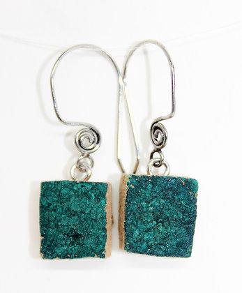Aqua Square Wine Cork Earrings