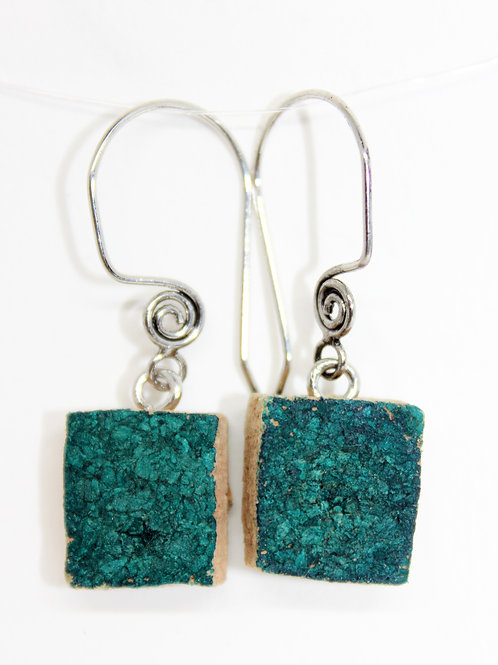 Aqua Square Wine Cork Earrings