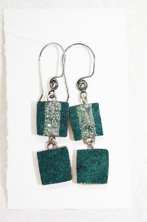 Aqua Duo Sparkle Wine Cork Earrings