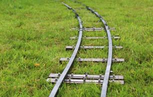 MRW track on grass (photo credit Miniature Railway Workshop)
